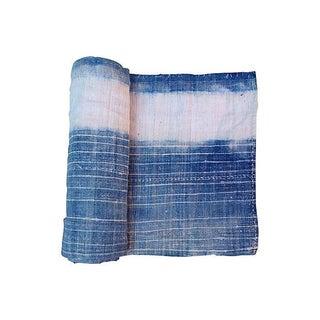 Bleached Indigo Batik Textile Fabric- 3.1 Yards
