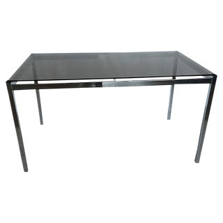 Milo Baughman Smoked Glass Parsons Chrome Dining Table