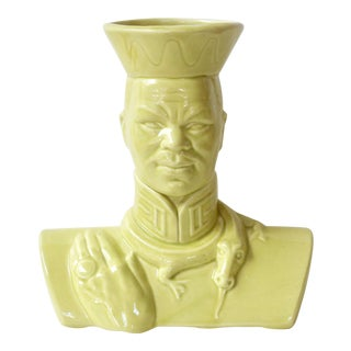 Chartreuse Asian-Style Ceramic Bust Vase