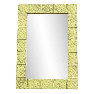 Yellow Tulip Pattern Ceiling Tin Frame Mirror
