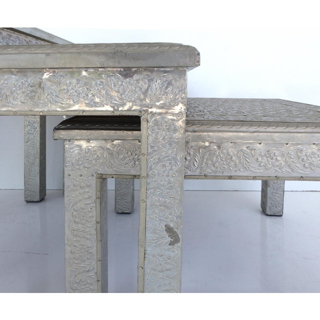 Moroccan metal clad nesting tables set of chairish