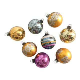 Vintage Shiny Brite Jewel-Tone Ornaments - Set of 8