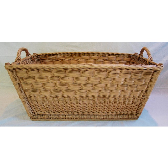 Vintage French Woven Willow Market Basket - Image 7 of 8