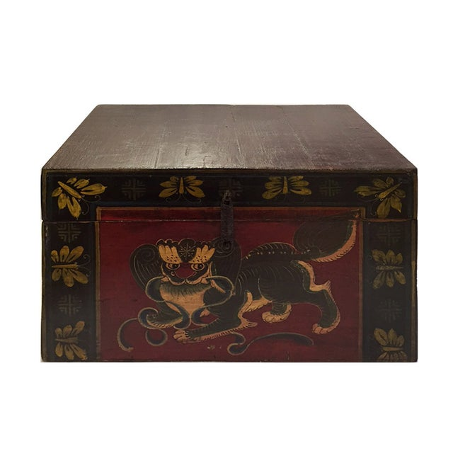 Chinese Brown Red & Gold Graphic Wood Trunk Box - Image 1 of 7