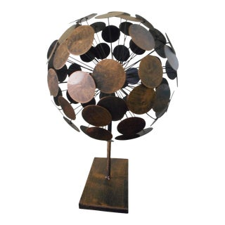 Brutalist Metal Orb Sculpture Sphere