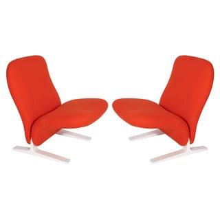 Pierre Paulin Sleigh Chairs in Vermillion Wool - Pair