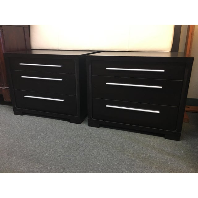 Contemporary 3-Drawer Nightstands - A Pair - Image 2 of 8