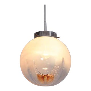 Pendant with Globes of Frosted-to-Clear Glass with Orange Inclusions, Italy 1970