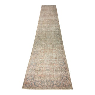 "Vintage Distressed Turkish Oushak Runner - 2'3"" X 12'10"""