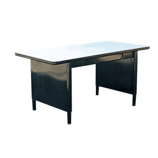 Vintage Mid-Century McDowell and Craig Black Steel Panel Leg Desk Work Table