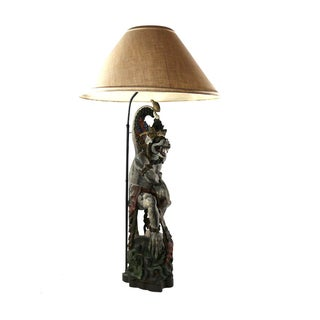 1800s Antique Wood Balinese Demon Lamp
