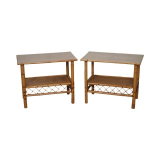 Vintage Rattan Bamboo Side Tables - A Pair