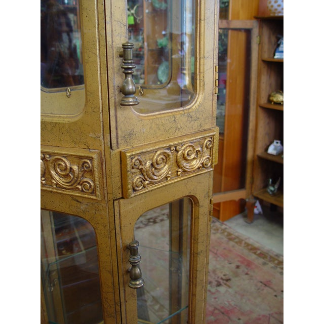 Hollywood Regency Gold Painted Curio Cabinet - Image 5 of 5