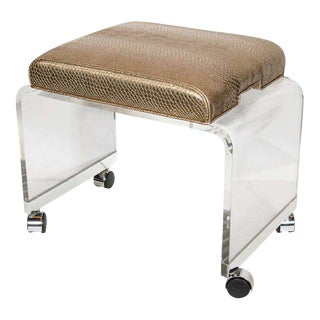 Mid-Century Modernist Waterfall Lucite Stool with Faux Bronze Metallic Python