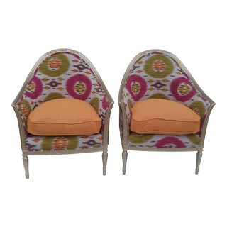 Vintage Tangerine and Fuchsia Barrel Chairs