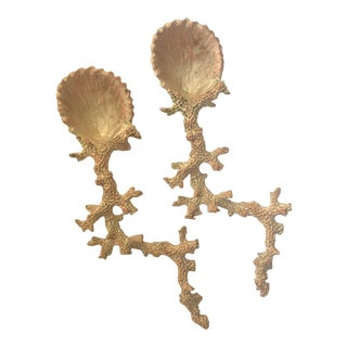Coral & Shell Cast Caviar Spoons - A Pair