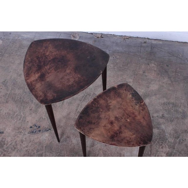 Pair of Goatskin Nesting Tables by Aldo Tura - Image 8 of 10