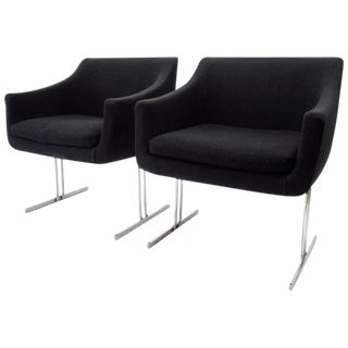 Hugh Acton by Vecta Group Italy Chrome Frame Lounge Chairs - a Pair