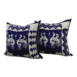 Indigo Ikat & Leather Pillows - a Pair