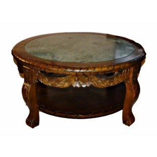 Marble Top Carved Clawfoot Coffee Table