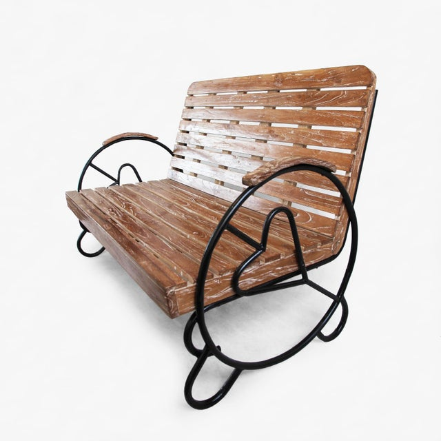 Teak Deco Two-Seater Bench - Image 3 of 5