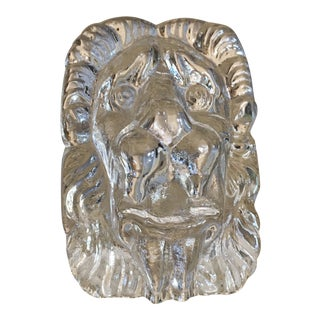 Vintage Art Glass Lions Head Paper Weight
