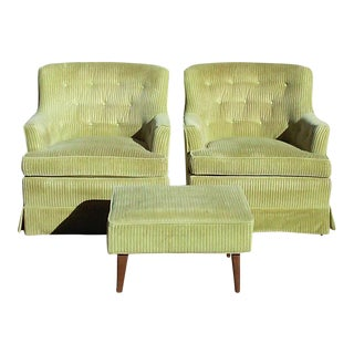Drexel Upholstered Club Chairs With Matching Stool