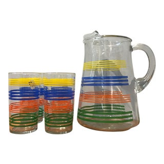 Deco Striped Pitcher and Glasses - Set of 4