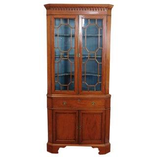Antique English Georgian Satinwood Corner Cabinet
