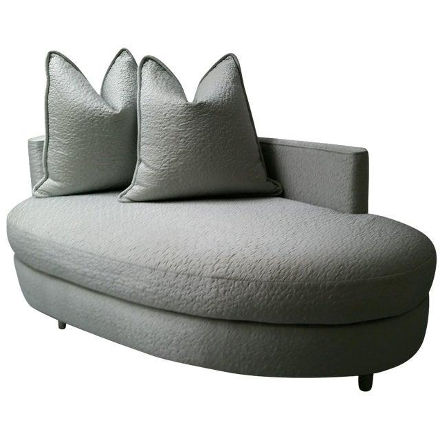 Ice Blue Silk Taffeta Oval Chaise - Image 1 of 3