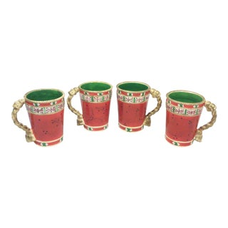 Red Ceramic Hand Painted Chocolate Mugs with Rope Tassel Handles - Set of 4
