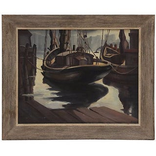 1930s New York Harbor Painting