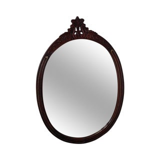 Carved Mahogany & Tooled Leather Oval Wall Mirror circa 1950s