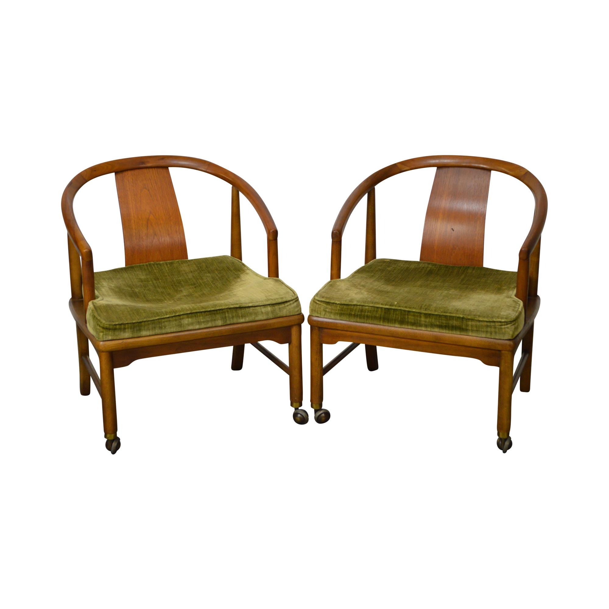 Edward Wormley Dunbar Style Mid Century Barrel Back Chairs   A Pair   Image  11