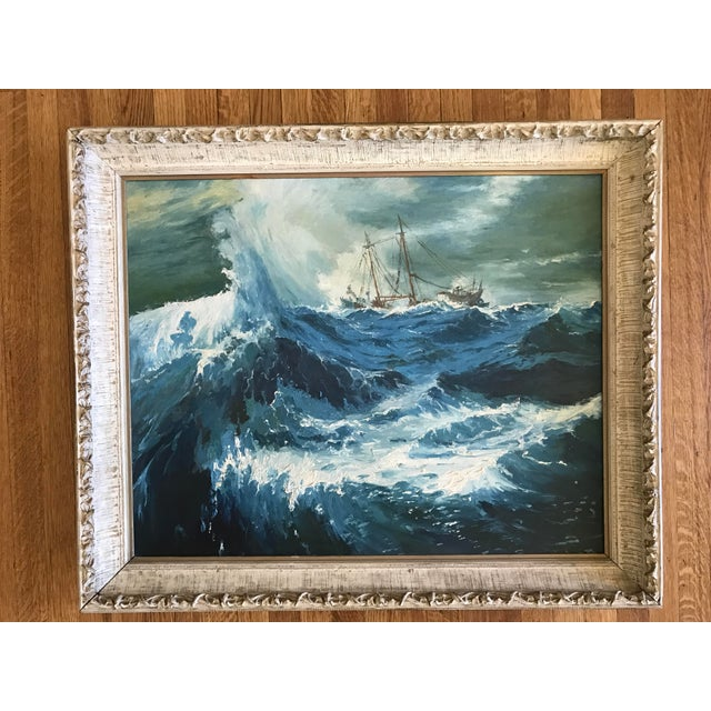 "1963 Bonnie Posselli ""Storm Tossed"" Nautical Oil Painting - Image 8 of 8"