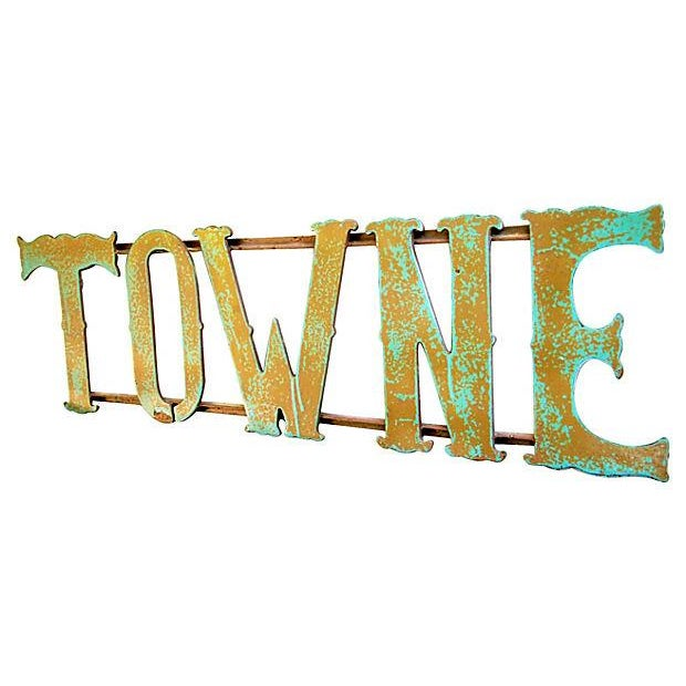 1930s Hand-Forged Metal Towne Sign - Image 4 of 4