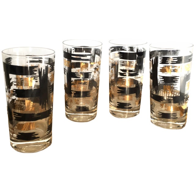 Image of Mid-Century Black & Gold Tumblers - Set of 4