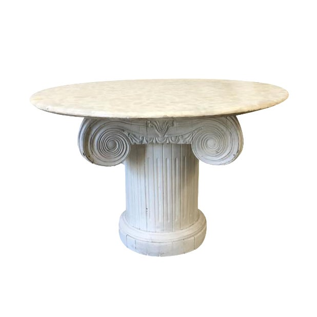 Vintage Marble Top Round Column Base Dining Table - Image 1 of 7