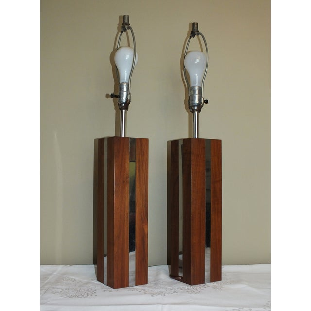 Image of Mid-Century Modern Wood Chrome Table Lamps - Pair