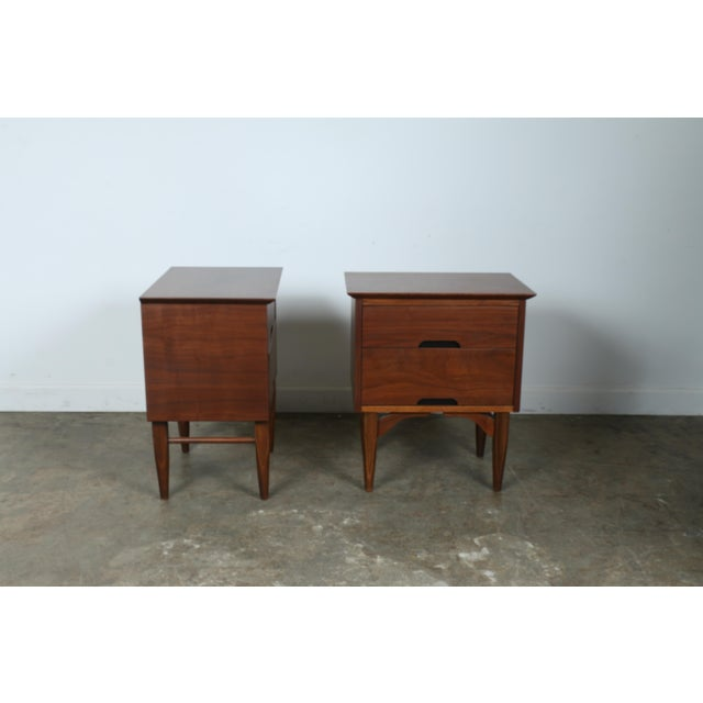 Mid-Century Walnut Nightstands - A Pair - Image 7 of 11