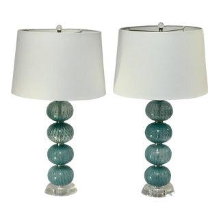 Pair of Aqua Blue Glass Orb Lamps