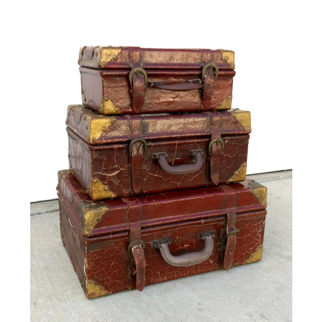 Weathered Ox Blood Nesting Trunks - Set of 3 - Image 2 of 11