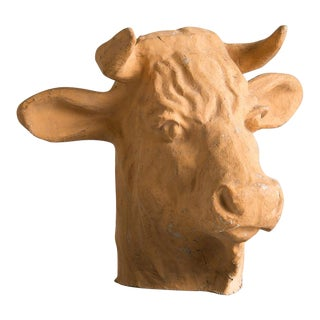 Vintage French Papier Maché Head of a Bull circa 1920