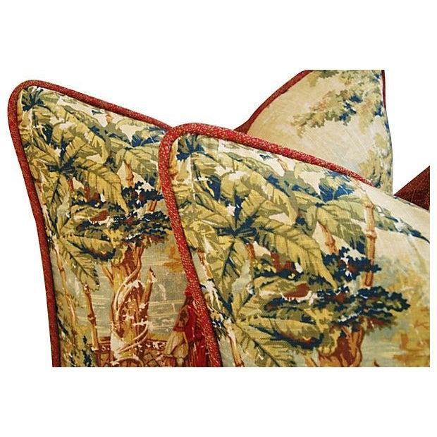 Image of Vintage Custom Renaissance Toile Pillows - A Pair