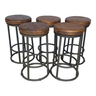 Reclaimed Wood & Metal Counter Stools - Set of 5