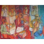"""Image of """"Rehearsal"""" Music Theme Modernist Painting, C 1959"""
