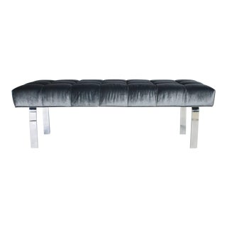 1970s Steel Frame and Steel Blue Mohair Tufted Bench