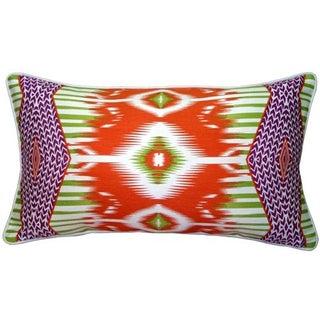 Pillow Decor - Electric Ikat Orange 15x27 Pillow