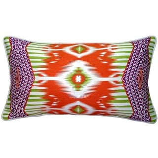 Pillow Decor - Electric Ikat Orange 15x27 Pillow