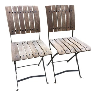 Pair of Modernist Teak and Metal Bistro Chairs